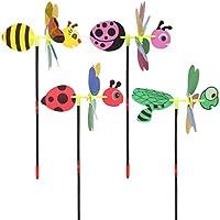 Ideapark 3D Purpurina Animal Abeja–Molinillo de Viento Viento Spinner casa jardín al Aire Libre Patio decoración niños Juguete par, Rojo