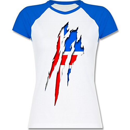 Länder - Island Krallenspuren - zweifarbiges Baseballshirt / Raglan T-Shirt für Damen Weiß/Royalblau