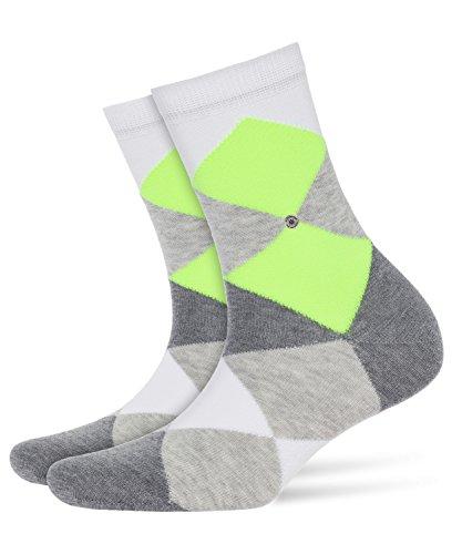 Burlington Damen W SS Moderne Socken Neon Bonnie Bunte Rauten Baumwolle 1 Paar, Blickdicht, Weiß (White 2000), 36-41