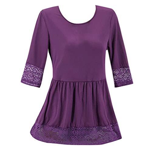 Große Größe Damen solide Farbe Spitze Nähendes Kleid Rundhals lässig locker kurzes Kleid S-5XL URIBAKY