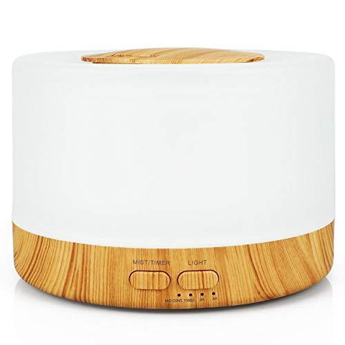 HDFIER humidificador higrostato Humidificador Ultrasónico de Aire Lámpara Difusora Mini grano de madera creativo