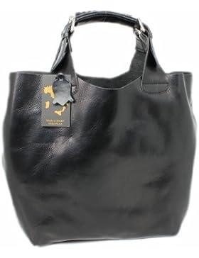 Leatherworld Luxus Beutel Ledertasche XXL / Shopper NERO 01868