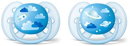 Philips Avent SCF222/22 - Pack de dos chupetes ultra suaves y flexibles, decorados, 6-18 meses, niño, color azul cielo