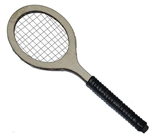 Miniatur Tennisschäger aus Holz - 13,2 cm - Tennis Schläger Sport Puppenhaus - Mini Ballsport Tennis-Match olympische Sommerspiele