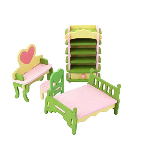 Magideal Dollhouse Furniture Wooden Toy Kids Bedroom Set  available at amazon for Rs.445