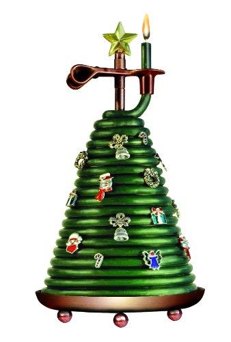 Candle by the Hour Nachfüllkerze für Weihnachtsbaum, 80 Stunden, umweltfreundlich, natürliches Bienenwachs mit Baumwolldocht Parfümiert Christmas Tree Candle with 14 Charms grün
