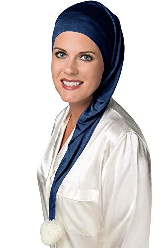 Cardani® Klassische Strumpfmütze aus luxuriösem Bambus - weiche Schlafmütze für Frauen - Schlafmütze Krebs & Chemo Patienten Luxus Bambus - Mitternachtsblau - Headcover Turban