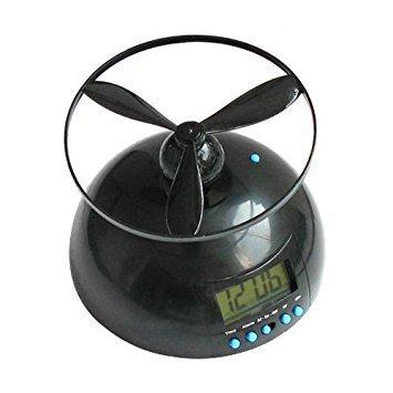 TOOGOO (R) Kuppel fliegender Wecker Hubschrauber Uhr - Schwarz