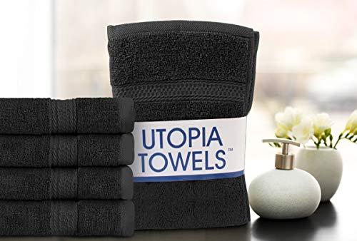- 100/% Cotone grigio Utopia Towels 4 Pezzi, 41x 71 cm// 16x28 pollici Set di Asciugamani Mani Massima morbidezza e assorbenza da parte di Perfezionare per Hotel /& Spa