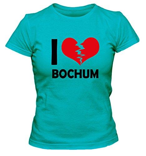 I don\'t love Bochum FUN Damen T-Shirt, Größe:XL;Farbe:türkis