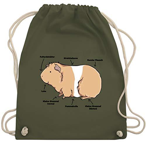 Shirtracer Sonstige Tiere - Meerschwein Anatomie - Unisize - Olivgrün - WM110 - Turnbeutel und Stoffbeutel aus Bio-Baumwolle