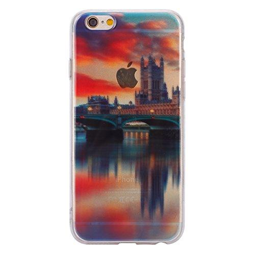 Felfy Hülle für iPhone 6,iPhone 6S Case Crystal Hülle Klare Ultradünne Silikon Gel Schutzhülle Durchsichtig Muster Kristall Transparent TPU Silikon Schutz Handy Hülle Case Tasche Etui Bumper für Apple London Case