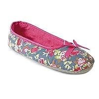 Womens/Ladies Rose Pattern Slip On Ballet Slippers (UK 5/6 EURO 38/39) (Navy/Pink)