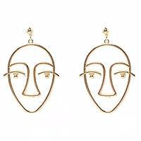 Bescita Human Face Dangle Earrings Fashion Women Earrings Dangling Hollow Out Earrings (Gold)
