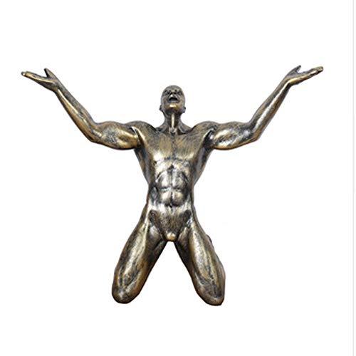 ll des Sieges Mann Statuen Ornamente Kreative Vintage Mann Skulptur Handwerk Home Office Wohnzimmer Dekoration Geschenk,B ()