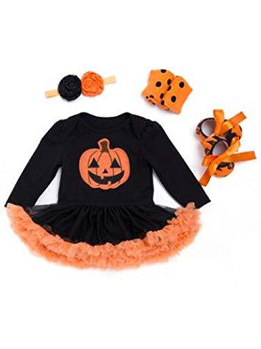 Baby Mädchen halloween kürbis Langarm Kleid Bodysuit Tutu -