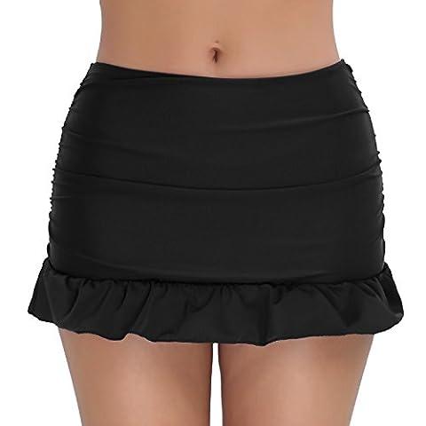 FEESHOW Women's Ruched Skirted Bikini Bottoms Tummy Control Swimming Skirt Briefs Beachwear Skirtini Black