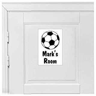 Custom Bedroom Door Football Sign with Name or Other Text 1954 (15cm x 20cm Approx 6in 8in Vinyl (Sticker) White on Black Background)