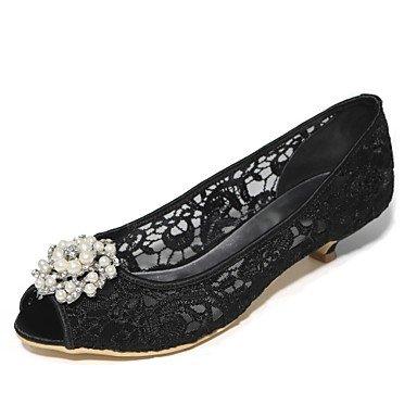 Rtry Femmes Chaussures Pompe De Mariage Base Printemps Été Dentelle Net Party Mariage & Amp; Soirée Perle Strass Cône Ivoire Talon Blushing Rose Blanc Noir Us6.5-7 / Eu37 / Uk4.5-5 / Cn37
