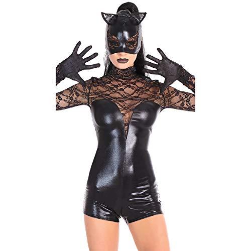 GYH Mujer Cuero Mesh Stitching Catsuit Ropa Interior Halloween Siamese Batman Bodysuit,Black