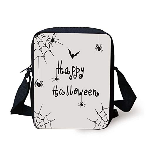LULABE Spider Web,Happy Halloween Celebration Monochrome Hand Drawn Style Creepy Doodle Artwork,Black White Print Kids Crossbody Messenger Bag Purse