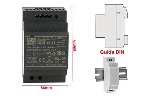 MeanWell HDR-60-12 Trasformatore Rotaia Industriale 12V 54W Barra Guida DIN Rail Power Supply Univers