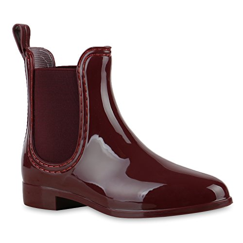 Stiefelparadies Women Wellington Bootees with Block Heel Lacquer Flandell