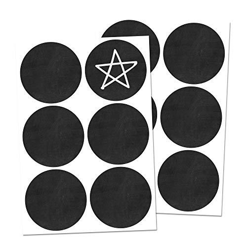 120 Stück, 5cm Kreis Tafelaufkleber Etiketten Selbstklebend, Löschbar, Wiederverwendbar Wasserdicht Tafelfolie Sticker