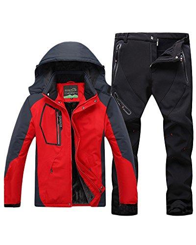 Qitun Hombre de Trekking Impermeable Deportivos Transpirable Pantalones Chaqueta de Esquí Impermeable Chaqueta de Nieve Excursionismo Conjunto Rojo B L