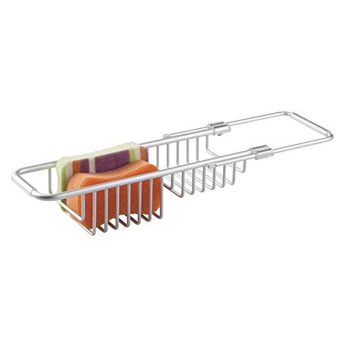 mDesign Spülbeckenablage - Mit dem praktischen Schwammhalter Küchenutensilien über der Spüle aufbewahren - Spülbecken Organizer auch für Spülbürste geeignet - Aluminium