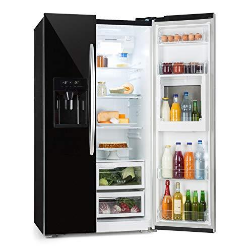 Klarstein Grand Host XXL Side-by-Side Kühl-Gefrierkombination - Kühlschrank, Gefrierschrank, NoFrost, Doppeltür-Front, 550 Liter Gesamtvolumen, Eis- und Wasserspender, nur 45 dB leise, schwarz
