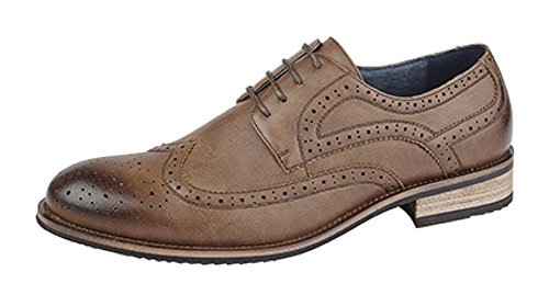Mens Low Boots 4 Eyelets Brogue Fodera In Pelle Marrone (grana Marrone)
