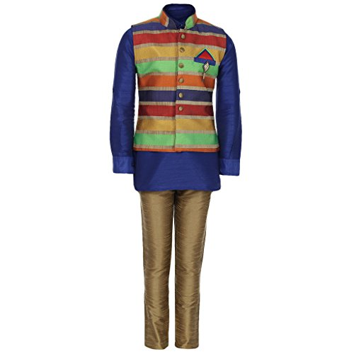 AJ Dezines Kids Kurta Pyjama Waistcoat Set for Boys (1211_BLUE_3)