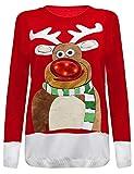 Herren Damen Strickpullover 3D Rudolph Rentier Elfe Weihnachten Pullover (3D LED Lights Nose Rudolph Red, M)