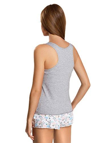 oodji Ultra Femme Pyjashort Imprimé Gris (2010P)