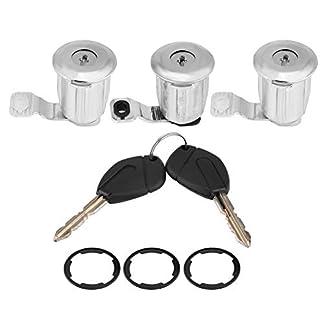 KIMISS 1 Juego de Barriles de bloqueo de puertas de automóvil con llaves para 1996-2007(3 * Barriles (# 1))