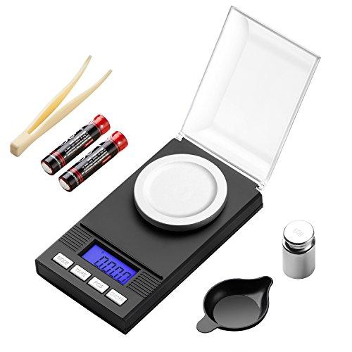 KEEGH Mini Digitale Küchenwaage, Juwelierwaage Elektronische Taschenwaage, Hohe Präzision auf bis zu 0.001g (100g Maximalgewicht), Tara-Funktion, mit LCD-Display (100g 0.001 oz/0.01 g) -