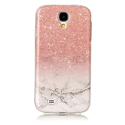Coque Samsung Galaxy S4,Coffeetreehouse Marbre Texture Housse Etui TPU Silicone Clear Clair Gel Slim Case Cover Coque Flexible Lisse Etui Ultra Mince Poids Léger Housse Anti Rayure Anti Choc pour Samsung Galaxy S4-Rouge cinabre + blanc