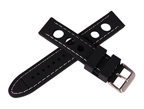 22mm dicke schwarze Gummiuhrenarmband weißer Naht perforiert Uhr Armband Gummi Rennen Stil kontras