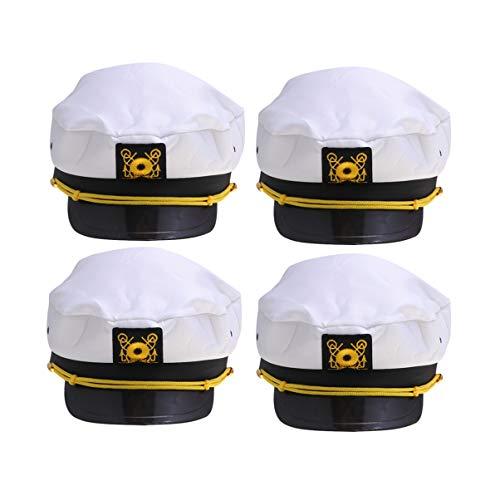 Amosfun 4pcs Kapitänsmütze Einstellbare Marine Mütze Nautisch Segeln Hüte Halloween Navy Kostüm Zubehör für Erwachsene (Weiß)