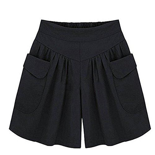 Damen Shorts Kurze Stoffhose Sport Freizeit Lose Baumwolle Hosenrock Sommer Elegant Hot-Pants