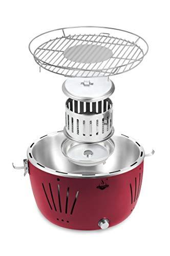 El Fuego rauchfreier Holzkohlegrill, Tulsa, rot, 34,2 x 34,2 x 21,5 cm, AY5253 - 4