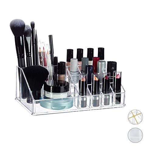 Relaxdays Contenitore Porta Trucchi Make Up Organizer con 16 Scomparti per Cosmetici Rossetti Acrilico 8 x 22 x 125 ca.