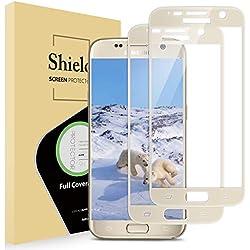 Bonslan Verre Trempé Galaxy S7, [2 pièces] Film Protection en Verre trempé écran Protecteur 9H Glass Screen Protector pour Samsung s7, Anti-Rayures, sans Bulles, Film Protecteur pour S7 - doré