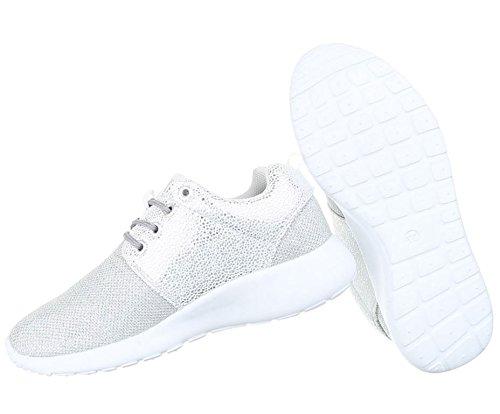 Damen Schuhe Sneakers Sportschuhe Turnschuhe Freizeitschuhe Silber 38 oIoRA76Muy