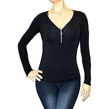 Jygles Damen Schlank Hemd Blusen Dekolletiert V-Ausschnitt Langarm T-Shirt Tops