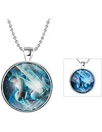 AnaZoz Joyería de Moda Collar Aleación Blue Colgante Collar Redondo Luminoso Serie Constelación Aquarius Colgante Para Mujer Verde Fluorescencia