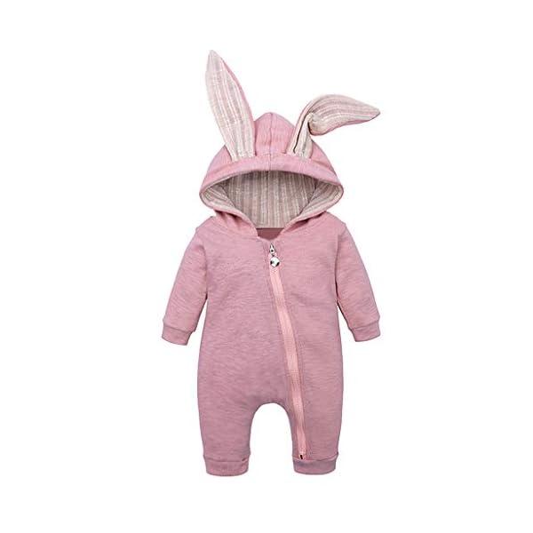 Mameluco Bebe Niño Mono Bebe Invierno Encapuchado Color Solido Oreja de Conejo Ropa Bebe Niña Recien Nacido 2