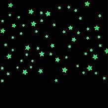 100pcs Estrellas resplandor 3D en la oscuridad luminosa fluorescente de plástico pegatinas de pared de estar Decoración Para cuartos de los niños bebé embroma la pared del sitio - Amarillo claro