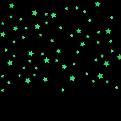 100 Pcs Etoiles phosphorescentes Stickers Muraux fluorescents Glow musque nuit lumineux phosphorescentes Déco Pépinière Chambre de bébé enfant